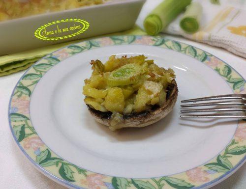 Funghi champignon ripieni con porro e patate
