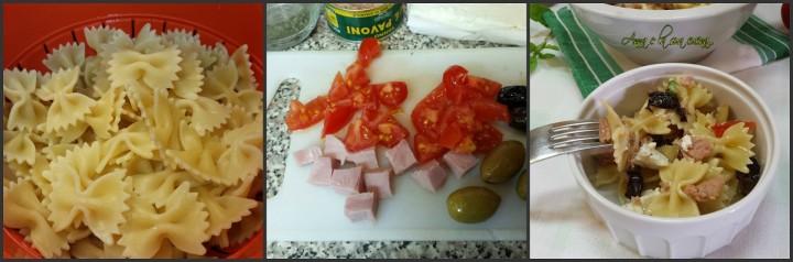 Farfalle con tonno, feta, pomodorini e olive