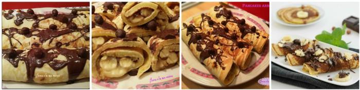 Pancakes arrotolati con banane e cioccolato