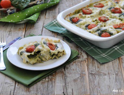 Lasagne ricce con spinaci e porro