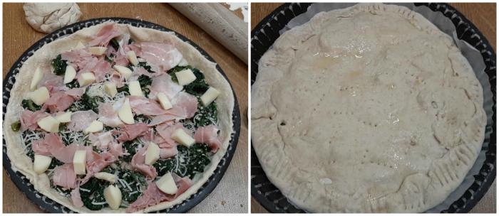 Pizza ripiena con cicoria