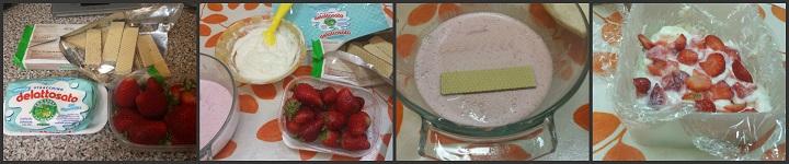 Dessert con wafer stracchino e fragole
