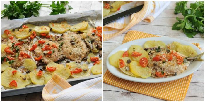 Sgombro con patate, pomodori e capperi