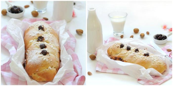Brioche al latte di mandorla e amarene