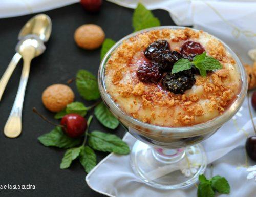 Crema al latte di mandorla e ciliegie