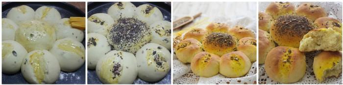 Fiore di pane con curcuma e semi