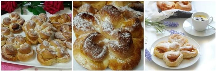 Fiori di pan brioche con marmellata