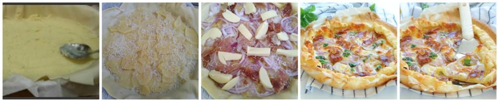 Pasta sfoglia con patate speck e cipolla