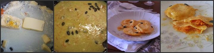 Ravioli con impasto e ripieno di zucca su fonduta di formaggi