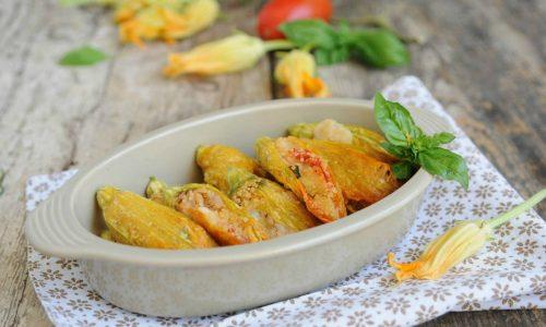 Fiori di zucca ripieni di cous cous al forno