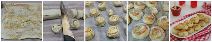 Girelle di pasta sfoglia con senape e formaggio