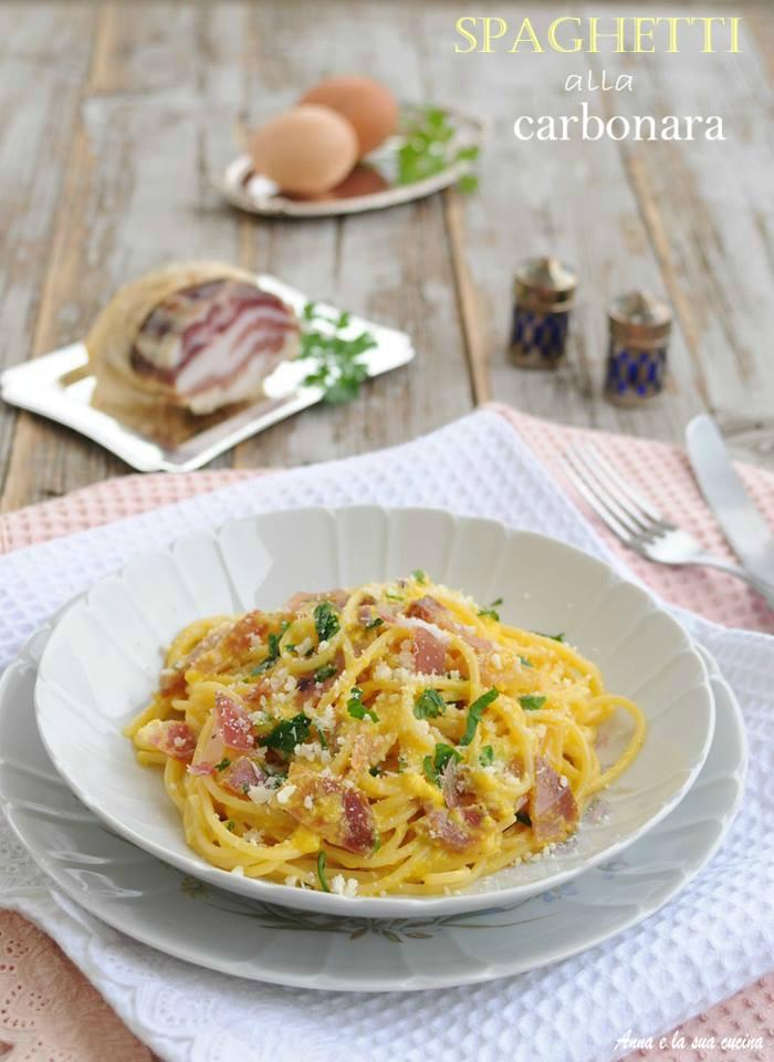 Spaghetti alla carbonara con guanciale e pancetta
