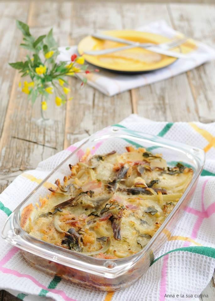Tortino di patate con carciofi e pancetta
