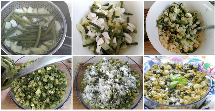 Pasta al forno con pesto fagiolini e patate