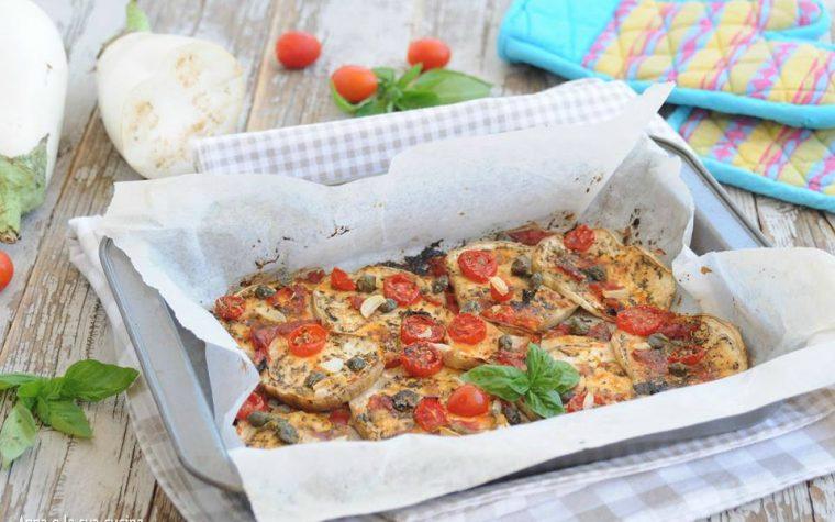 Melanzane al forno con pomodori e aromi