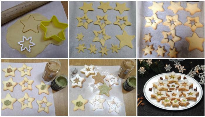Stelle natalizie con crema al pistacchio e nocciola