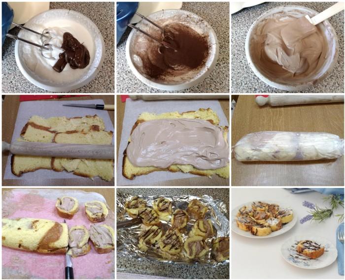Girelle di pandoro con panna e nutella
