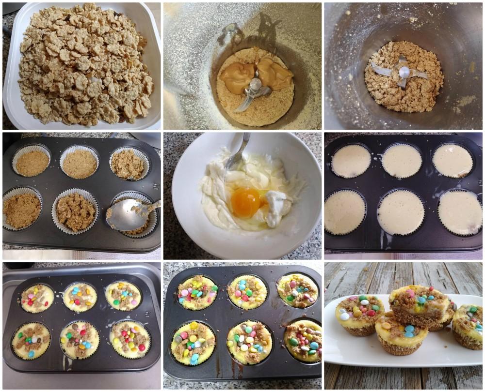 Mini cheesecakes con smarties
