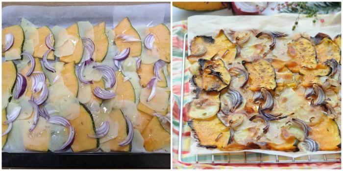 Fette di zucca e patate con cipolla al forno