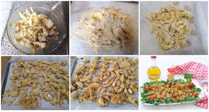Sfilacci di pollo impanati al forno
