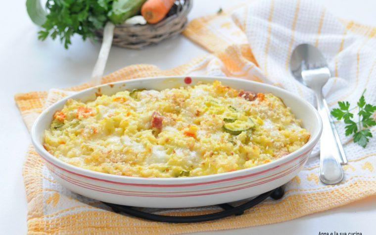 Riso con verdure e uova al forno