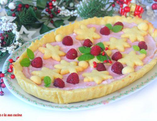 Crostata natalizia con crema ai lamponi
