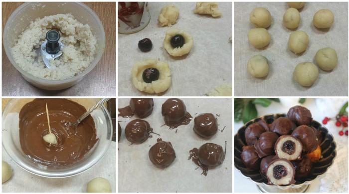 Cioccolatini di pasta di mandorle e amarene
