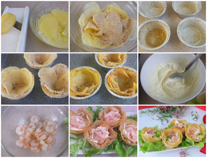 Cestini di patate ammollicate con formaggio e gamberi