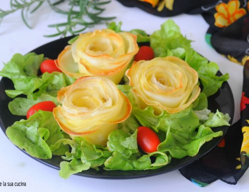 Rose di patate al forno scenografiche
