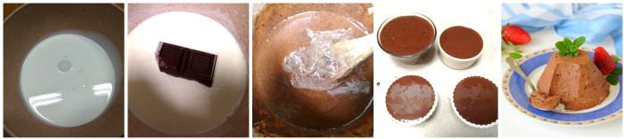 Panna cotta al cacao e cioccolato fondente