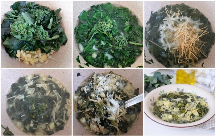 Minestra di spaghetti spezzati con broccoli e patate