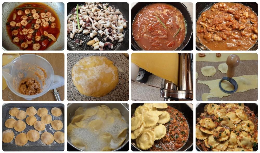 Ravioli freschi con seppie e gamberi al pomodoro