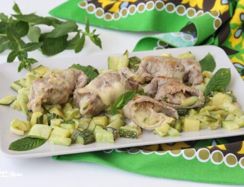 Involtini di carne con zucchine e scamorza
