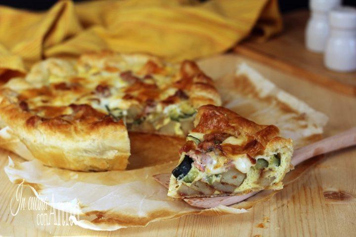 Torta salata patate,zucchine e salsiccia