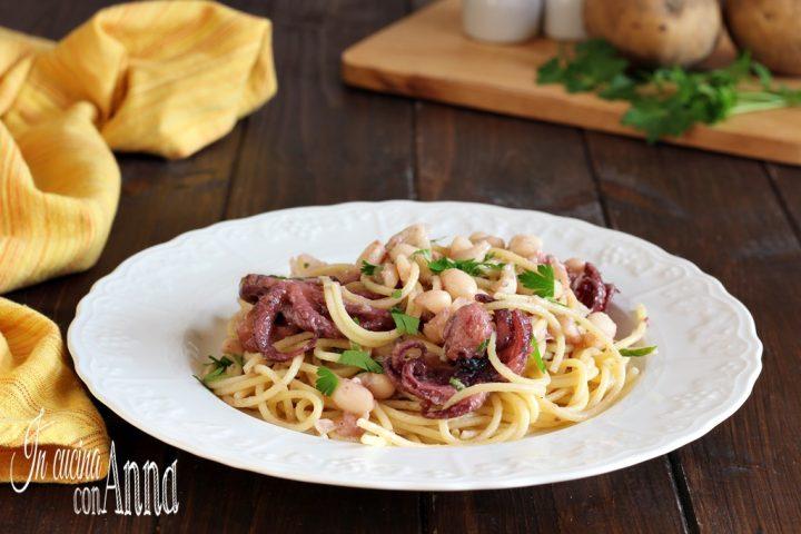 Spaghetti ai polipetti,fagioli e patate
