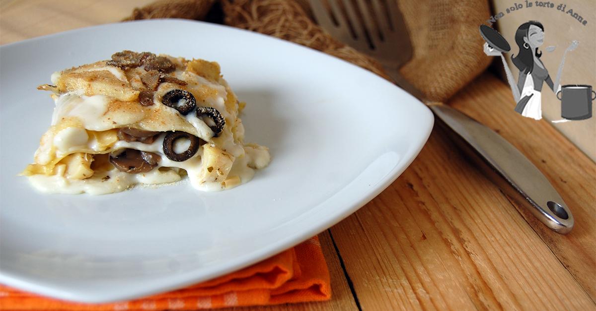 Lasagne carciofi  funghi e formaggio