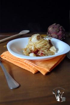 spaghetti al baccalà croccante
