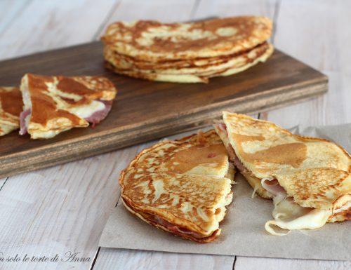 Pancake salati prosciutto e formaggio