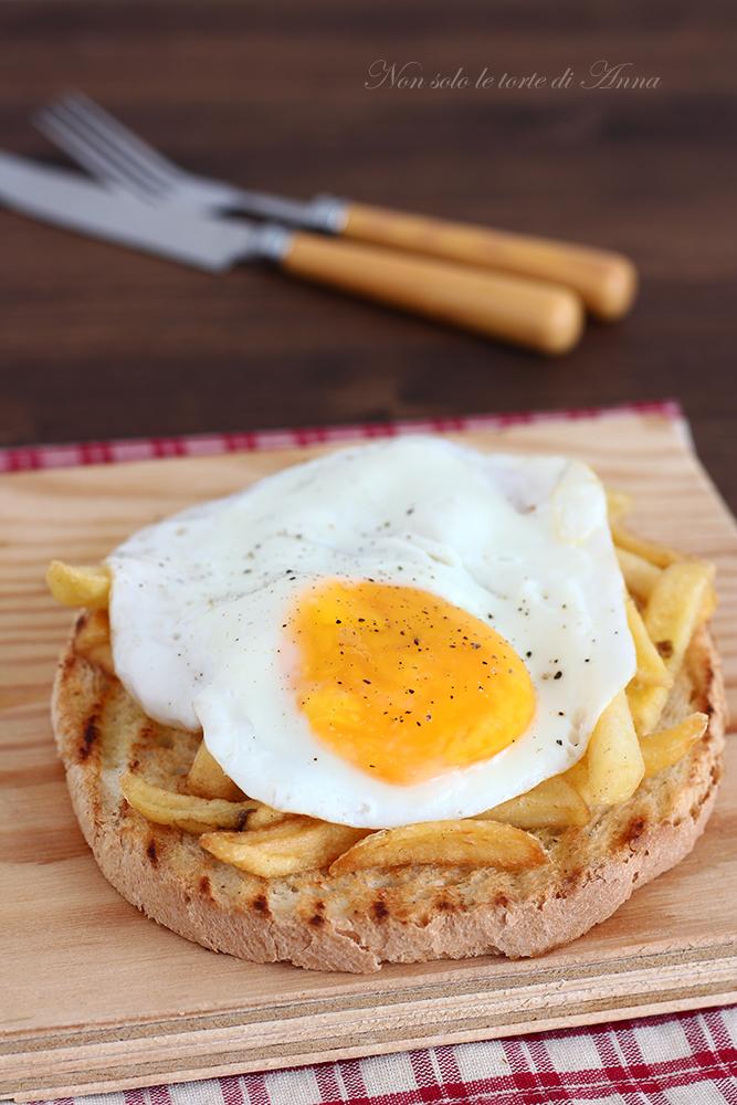 bruschetta patatine e uova