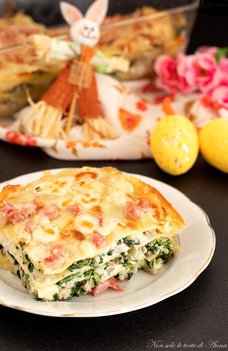 lasagne bianche bieta prosciutto