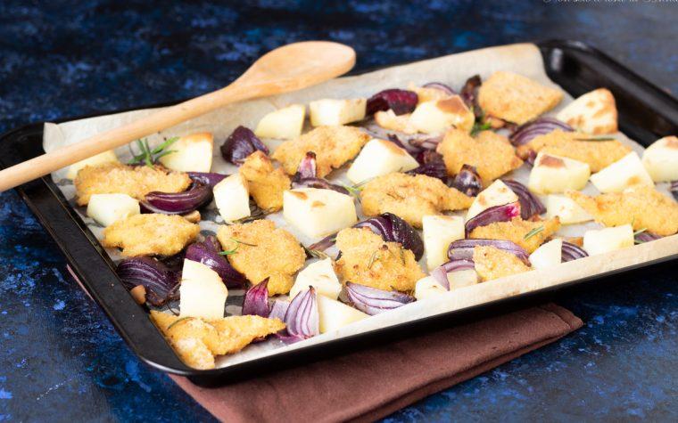 Bocconcini di pollo impanati con patate