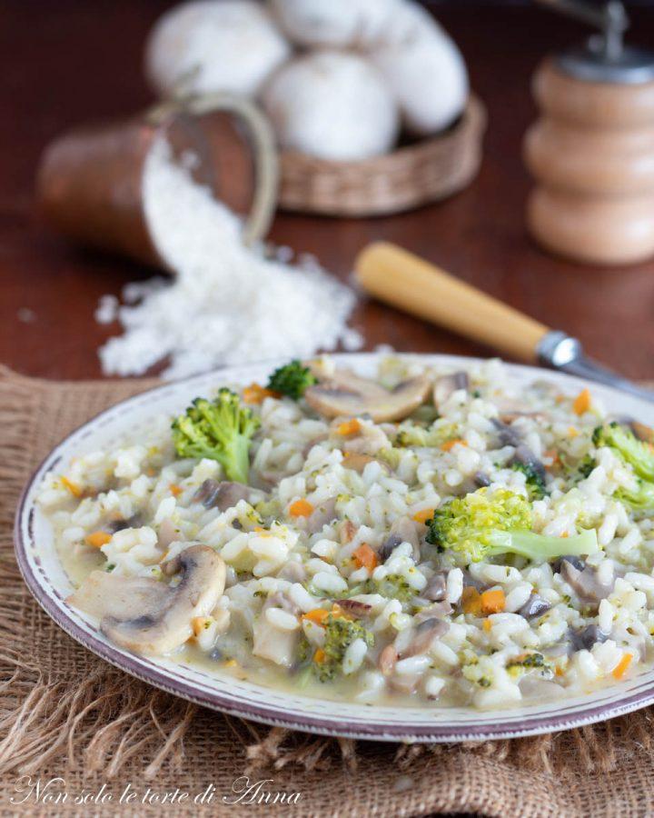 risotto con broccoli e funghi