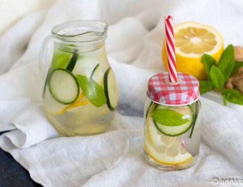 Bevanda al limone cetriolo e zenzero dissetante