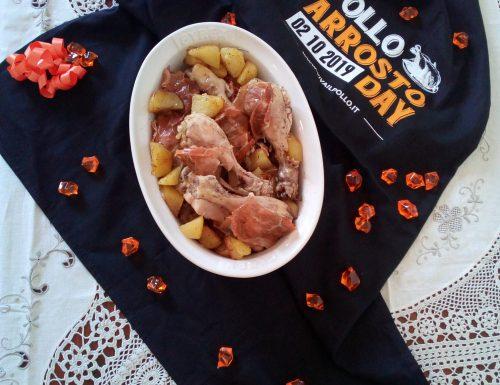 Pollo arrosto con prosciutto crudo e patate