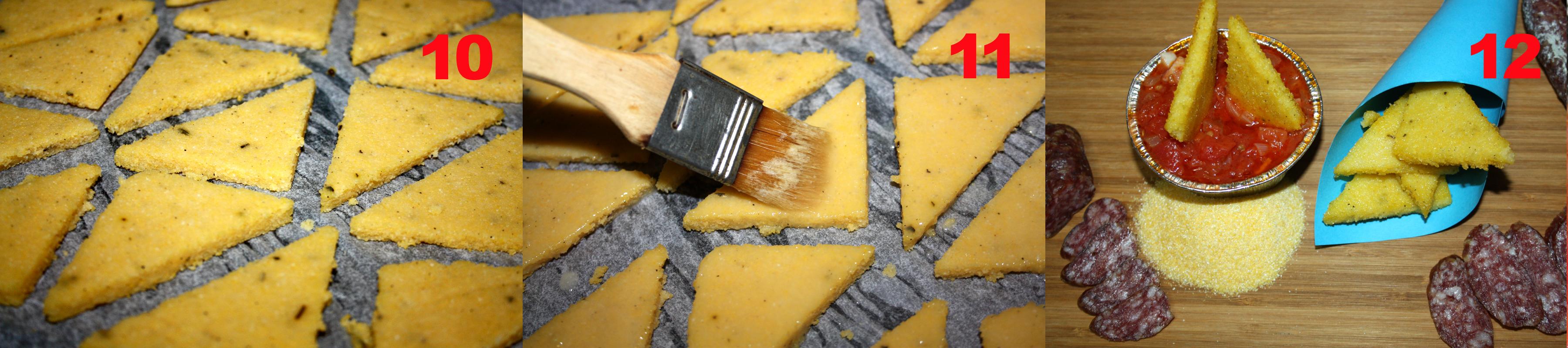 Chips di polenta con salsa alla diavola.
