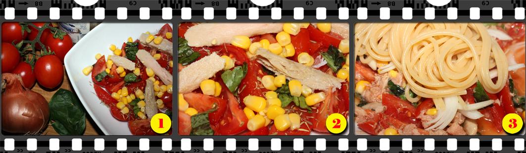 Spaghetti di germogli di soia all'insalata.