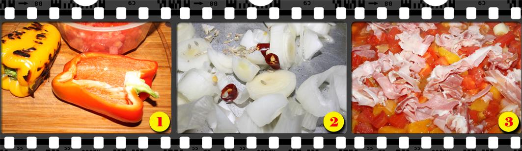 Gnocchi con crema di peperoni.
