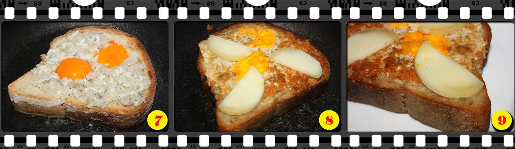 Finta bistecca di uova al formaggio.
