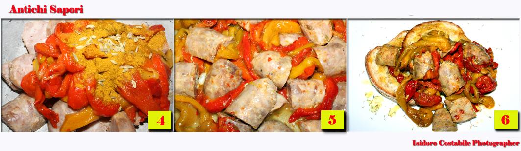 Ruoto di peperoni e salsicce al forno.