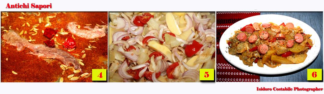 Ruoto di patate con la zucchina lunga e cipolle.